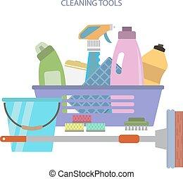 estilo, limpeza, vetorial, apartamento, tools.