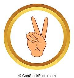 estilo, mão, vetorial, vitória, ícone, sinal, caricatura