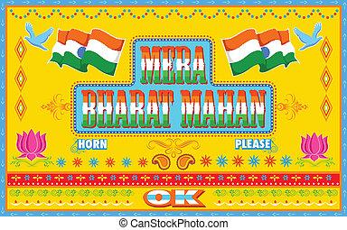 estilo, mahan, pintura, caminhão, mera, bharat