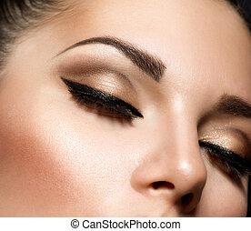 estilo, maquiagem, makeup., olhos, retro, olho, bonito