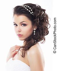 estilo, maquilagem, fiancee., -, jovem, suave, casório, coiffure