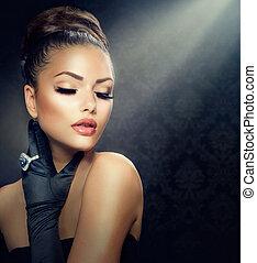 estilo, menina, moda, beleza, portrait., desgastar, luvas, vindima