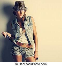 estilo, menina, moda, bonito, foto