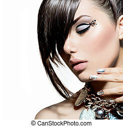estilo, moda, cabelo, portrait., trendy, modelo, menina