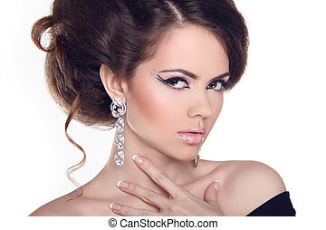 estilo, moda, girl., voga, arte, woman., retrato, hairstyle., bonito