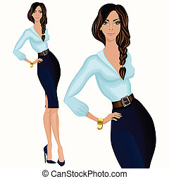 estilo, mulher, negócio casual, atraente