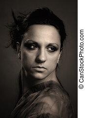 estilo, mulher, retro, excitado, retrato