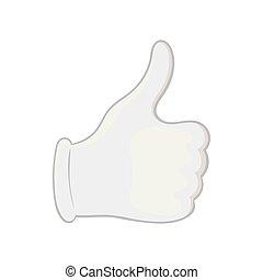 estilo, polegar cima, mão, pretas, ícone, monocromático