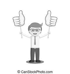 estilo, polegar, cor, cima, sinal, pretas, dois, segurando, homem negócios, junta branca