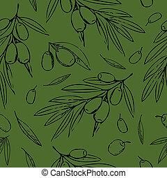 estilo, pretas, menu, mão, graphic., têxtil, embrulhando, desenhado, folhas, papel, padrão, seamless, papel parede, fundo, azeitonas, verde, doodle