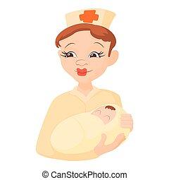 estilo, recem nascido, ícone, prendendo bebê, enfermeira, caricatura
