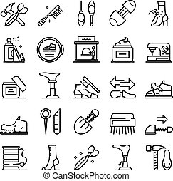 estilo, reparar, ícones, jogo, esboço, sapato