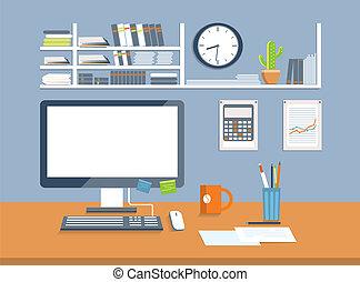 estilo, room., escritório, desenho, apartamento, interior