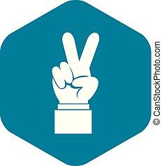estilo, simples, mão, vitória, ícone, sinal