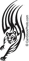 estilo, tribal, -, ilustração, tiger, vetorial