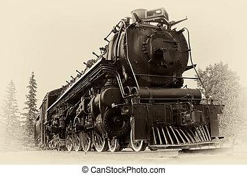 estilo, vapor, vindima, trem, foto