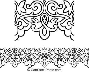 estilo vitoriano, borda, esboçado