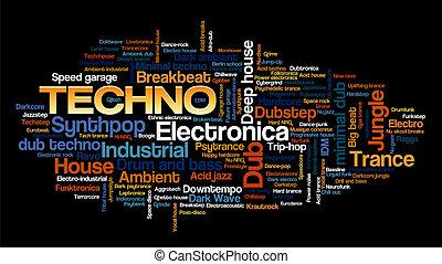 estilos, palavra, eletrônico, árvore, tag, música, tecno, bolha, nuvem