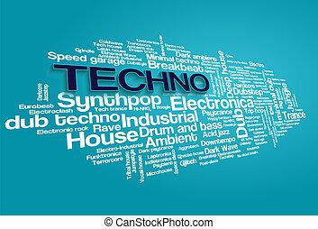estilos, palavra, eletrônico, árvore, vetorial, música, tecno, tag, bolha, nuvem