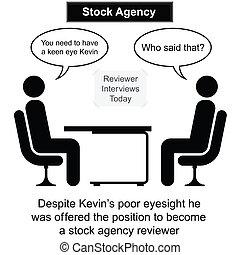 estoque, agência, entrevista