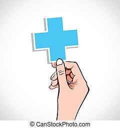estoque, sinal, médico, mão, crucifixos