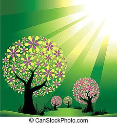 estouro, luz, abstratos, árvores, experiência verde