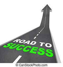 estrada, seta, -, cima, sucesso