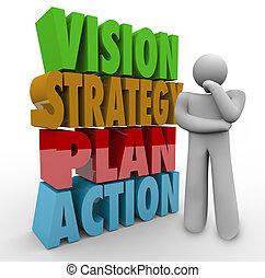 estratégia, ao lado, pensador, plano, palavras, ação, visão, 3d