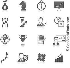 estratégia, planificação, ícones negócio