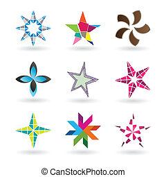 estrela, contemporâneo, ícones