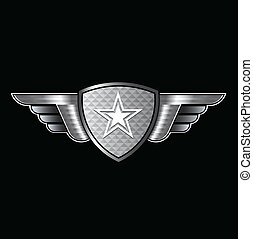 estrela, escudo, asas