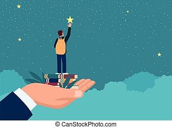 estrela, mão, levantamento, homem, cima, menino escola, alcance