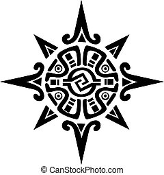 estrela, sol, símbolo, mayan, incan, ou