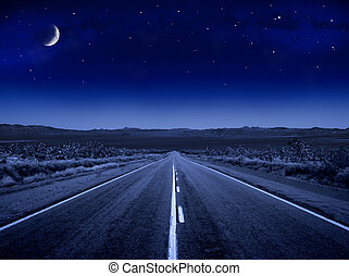 estrelado, estrada, noturna