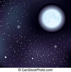 estrelado, vetorial, céu, lua