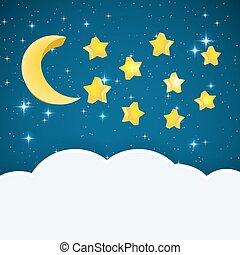 estrelas, espaço, text., céu, ilustração, lua, vetorial, fundo, noturna, caricatura, nuvem