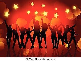 estrelas, pessoas, dançar, silhuetas, luzes, bokeh, fundo, 1412