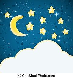 estrelas, text., quadro, céu, ilustração, lua, vetorial, fundo, noturna, caricatura, nuvem
