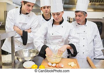 estudantes, aprendizagem, massa, culinário, mistura, como