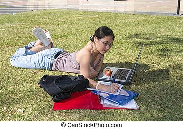 estudar, exterior, estudante universitário