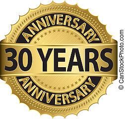 etiqueta, 30, anos dourados, aniversário