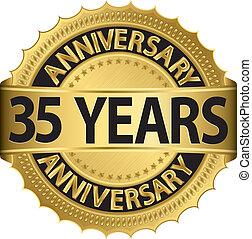 etiqueta, 35, anos dourados, aniversário
