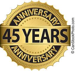 etiqueta, 45, anos dourados, aniversário