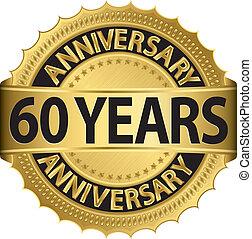 etiqueta, 60, anos dourados, aniversário