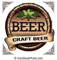 etiqueta, arte, cerveja