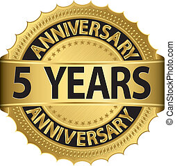 etiqueta, dourado, 5, anos, aniversário