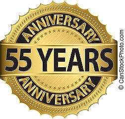 etiqueta, dourado, 55, anos, aniversário