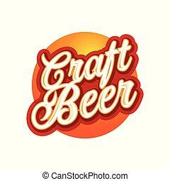 etiqueta, sinal, arte, cerveja, lettering