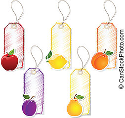 etiquetas, fruta