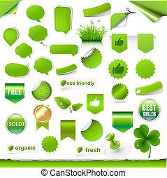etiquetas, grande, jogo, verde